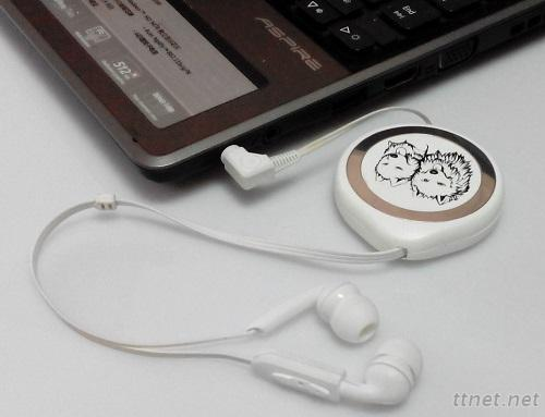 Earphone With A Microphone (Unilateral Retractable)