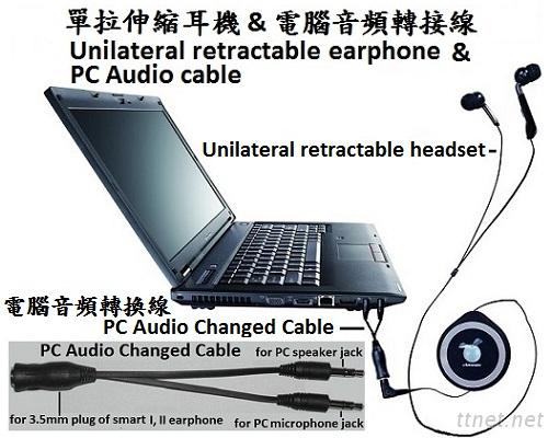 Computer Audio Cable And Retractable Headset With Microphone